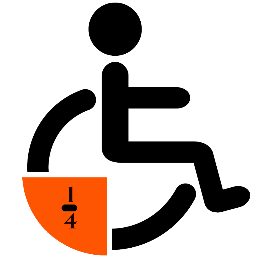 Wheelchair sign with 1/4 of the wheel highlighted
