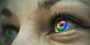 Eyes with Reflection of Google Logo Colors